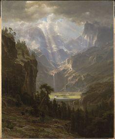 "Albert Bierstadt American (Solingen (near Dusseldorf), Germany 1830 - 1902 New York, NY) Rocky Mountains, ""Lander's Peak"", 1863 Oil on linen 110.8 x 90.2 cm (43 5/8 x 35 1/2 in.)   Harvard Art Museums"