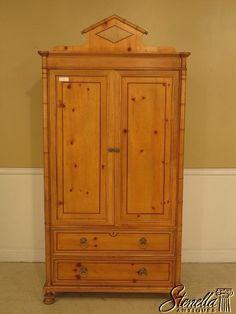 28902E: BAKER Faux Bamboo Pine TV Wardrobe Armoire