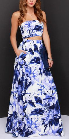 Blue and Ivory Print Two-Piece Dress
