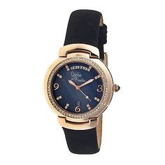 a5cb5512ab77 Sophie And Freda Rose Gold-tone Stainless Steel Case Black Mother of Pearl Dial  Ladies Watch