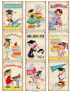 Instant Download, Retro Graduation Tags, ATC ACEO Sized Digital Collage Sheet, Printable Page of Graduating Children Gift Tags All 9 images on