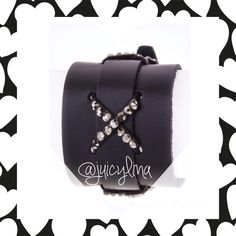 "Leather CuffBlackrhinestonessilver buckle Leather CuffBlack rhinestonessilver buckle7""-8 1/2"" TRADEDON'T ASK U WILL BE BLOCKED & REPORTED                                                           ONLY COMMENT BELOW REGARDING THIS ITEM: GO TO ☎️""LETS CHAT HERE""☎️ listing for none sale related discussions    Thank You Jewelry Bracelets"
