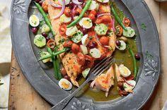 Warm salmon nicoise salad