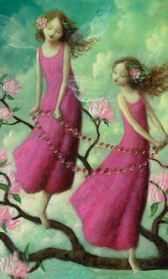 Two pink fairies by Stephen Mackey.
