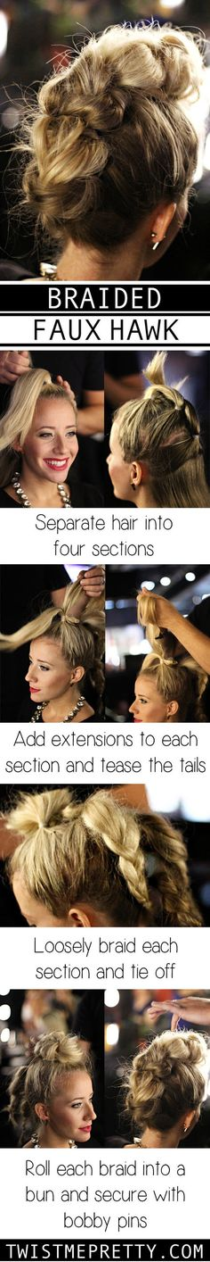 This is a really cool hairstyle and it looks pretty easy. Faux hawks always look like they are hard to do. Can't wait to try this! http://www.twistmepretty.com/2014/09/braided-faux-hawk-tutorial.html