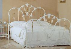 White Gloss & Brass Ornaments Metal Queen Bed