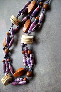 lilac paper bead necklace