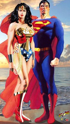 Wonder Woman and Superman by Alex Ross. This is a favorite because she is not too small and just as proud. Beautiful art.