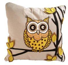 Ollie Owl Cushion Chartreuse: Amazon