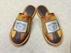 Mens Leather Slippers Jack Daniels Home Slippers by WhiteLoveU