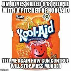 TRUTH: On Nov 17, 1978, Peoples Temple founder Jim Jones had U.S. Congressman Leo Ryan and 4 others murdered. On the 18th, Jim Jones led many of his followers into mass murder-suicide at their commune in a remote part of Guyana. Many of Jones' followers willingly took poison-laced punch while others were forced to at gunpoint. The final death toll at Jonestown that day was 909. Parents and nurses used syringes to give them a mix of cyanide, sedatives, and powdered juice on children.