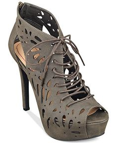 Pink & Pepper Pond Laser Cut Peep Toe Lace Up Bootie synthetic grey, black 4h (55.25) NA 3/15