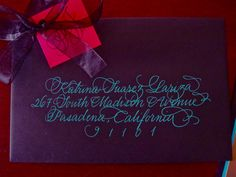 Love the blue ink on purple envelope by Calligraphy Katrina and Maison du Papier