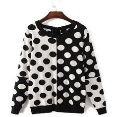 Black White Polka Dot Pattern Tied Back Knitwear ($40) ❤ liked on Polyvore featuring tops, long sleeve tops, loose fitting tops, cut loose tops, print top and polka dot top