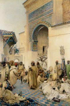 Gustavo Simoni, African Figures Dancing in a Courtyard