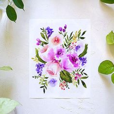 All the Purple Flowers Watercolor Paint Kit Watercolor Art Diy, Watercolor Projects, Watercolor Sunflower, Watercolor Landscape Paintings, Watercolor Flowers, Let's Make Art, Diy Art, Cow Painting, Painted Trays
