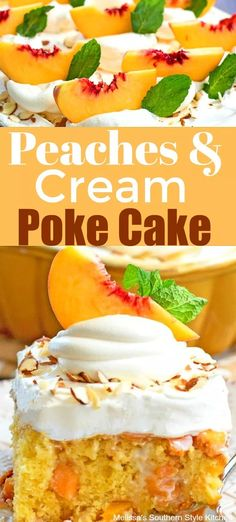 Filled with sweet plump peaches and whipped cream this Peaches and Cream Poke Cake makes a perfect addition to your Summer dessert menu. Poke Cakes, Poke Cake Recipes, Best Dessert Recipes, Frosting Recipes, Cupcake Cakes, Dump Cakes, Layer Cakes, Fruit Recipes, Dessert Ideas