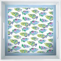 IHR Rosanne Beck Spring Garden Blue Fish Melamine Serving Tray Set RB15178