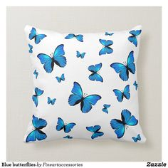 Shop Blue butterflies throw pillow created by Fineartaccessories. Blue Bedroom Decor, Pretty Bedroom, Room Ideas Bedroom, Light Blue Throw Pillows, Blue And White Pillows, Blue Pillows, Butterfly Bedroom, Butterfly Pillow, Teen Girl Bedrooms