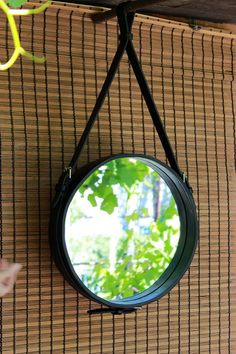 575aacf29696 Leather Strapped Mirror interior leather decoration handmade leather  leather mirror straps wall mirr Handmade Mirrors