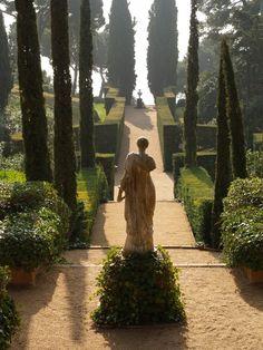 Santa Clotilde - Lloret De Mar, Spain the figure in the garden Formal Gardens, Outdoor Gardens, Formal Garden Design, Parks, Italian Garden, Tuscan Garden, My Secret Garden, Dream Garden, Garden Path
