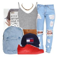 """""""-Tommy Hilf on me."""" by dopefashion001 ❤ liked on Polyvore featuring Glamorous, American Apparel, adidas Originals and Givenchy"""