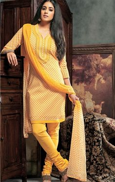 Picture of Beautiful Yellow Color Party Wear Churidar Kameez