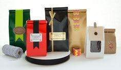 A Closer Look at Our Colorful Coffee Bags For Favors with custom labels - not expensive
