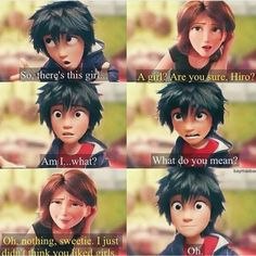 """@OfficialBH6: """"No, but seriously imagine Aunt Cass's reaction when she finds out Hiro likes some girl, she'd be overreacting and teasing him and wanting to find out who it is x) """""""