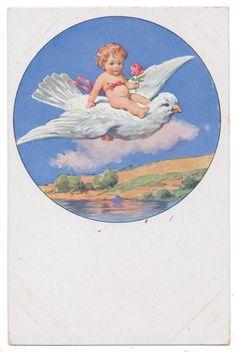 Little Angel Riding White Dove Through Blue Sky