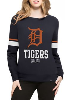 '47 Detroit Tigers Womens Throwback Navy Blue Crew Sweatshirt