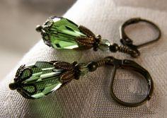 Forest Green Teardrop Crystal Teardrop Antiqued Bronze Filigree Earrings Steampunk Jewelry Antique Vintage Victorian Bridal Style