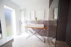 Love this modern walk in shower. Grey tiling and large walk in would look great to replace current shower enclosure.