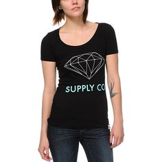 """Plain and simple, the black Diamond Supply Co t-shirt features a scoop neck, short sleeves, slim fit, and a Diamond blue """"Supply Co"""" graphic with a large Diamond outline logo in white at the front. Pair this girls Diamond t-shirt with skinny jeans and hig Diamond T Shirt, Diamond Logo, Black Diamond, Urban Fashion Women, Diamond Supply Co, Tee Shirts, Tees, Neck T Shirt, High Tops"""