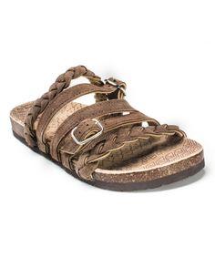 Brown Mary Strappy Suede Sandal by MUK LUKS #zulily #zulilyfinds