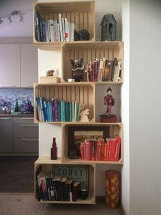 Bookstand create from wooden boxes. Handmaid in my Home.