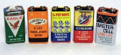 Vintage Transistor Radio 9V Batteries, Great Brand Names & Graphics - Eagle, Oriole, Pep Boys, Flying Bomb and Master Cell