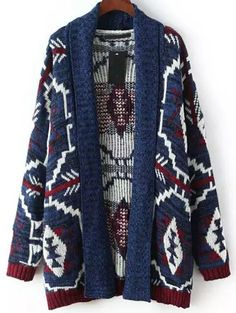 Multicolor Long Sleeve Geometric Print Cardigan 26.33