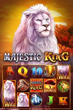 Majestic King is a video slot created by Spinomenal. The game consists of five reels and twenty-five paylines. It is quite easy to set up and play because you only have one thing to worry about – the size of your coins (coin size 0.25 to 250 credits). You can also make use of Auto spin function. King A, Slot Machine, Spin, New Zealand, Lion Sculpture, Statue, Play, Game, Venison
