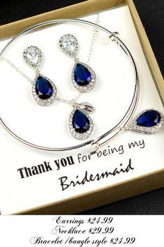 de la gota pendiente azul zafiro oscuro por thefabbridaljewelry