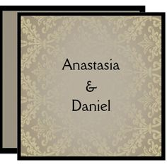 Art Deco elegant greish damask wedding invitation