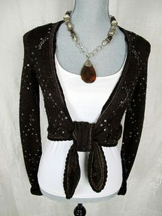 Cache Sweater Crochet XS S Top Brown Sequin Beaded Wrap Shirt Metallic #Cache #WrapSwing