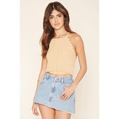 Forever 21 Women's  Crocheted Cropped Cami ($18) ❤ liked on Polyvore featuring tops, crop tank, cami tank, crop tank top, floral crop top and crop top