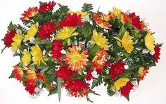 Deluxe Gerbera Headstone Spray with Orange/Yellow/Purple/Fuchsia Flowers Grave Flowers, Cemetery Flowers, Funeral Flowers, Artificial Flower Arrangements, Vase Arrangements, Artificial Flowers, Cemetery Headstones, Memorial Flowers, Gerber Daisies