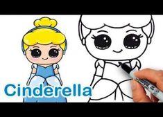 Creative Drawing How to Draw Disney Princess Cinderella Cute and Easy - Kawaii Girl Drawings, Cute Disney Drawings, Disney Princess Drawings, Drawing Disney, Disney Princess Cinderella, Mermaid Disney, Disney Princesses, Mermaid Princess, Princess Belle