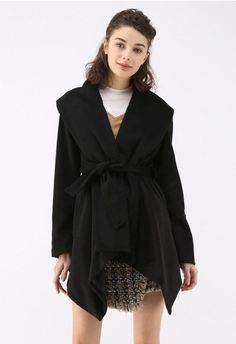 Chicwish Women's Turn Down Shawl Collar Earth Tone Check/Black White Grid/Black/Plum/Cream/Pink Wool Blend Coat: Clothing. Get this teenager highschool outfit for cute girls Unique Fashion, Cozy Fashion, Winter Fashion, Chunky Cardigan, Knit Cardigan, Black Plum, Black White, Black Tops, Indie