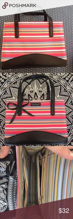 Kate Spade hand bag / pursue Super cute Kate spade hang bag/ small tote with bow. Never used just like New with two pockets inside and striped pattern inside and out. kate spade Bags Mini Bags