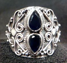 New 925 SOLID Sterling Silver & Deep Blue Indian Sapphire Ring Gothic Style s6.5 #statement