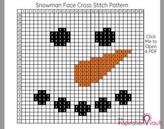 Snowman Face Cross Stitch Pattern