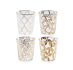 Amazon.com: Rosanna 94984 Luxe Moderne Double Old Fashioned Glass, Clear/Gold, Set of 4: Tall Water Drinking Glasses: Home & Kitchen